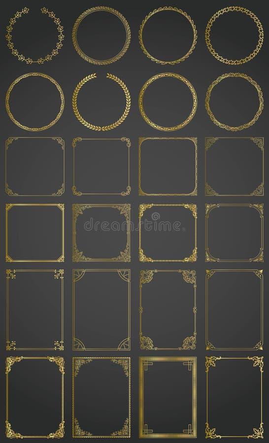 Den stora guld- vektorn ställde in av dekorativ rektangel, fyrkant, runda ramar och gränser royaltyfri illustrationer