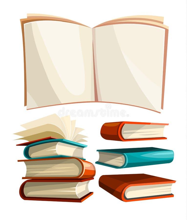 Den stora höguppsättningen av böcker med öppna sidor fördelade royaltyfri illustrationer