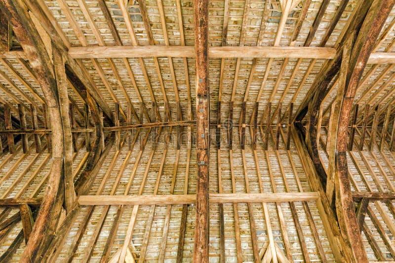 Den stora Hall Roof Timbers, Stokesay slott, Shropshire, England arkivbild