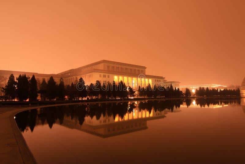 Den stora Hallen av folket i natten, Peking royaltyfri fotografi