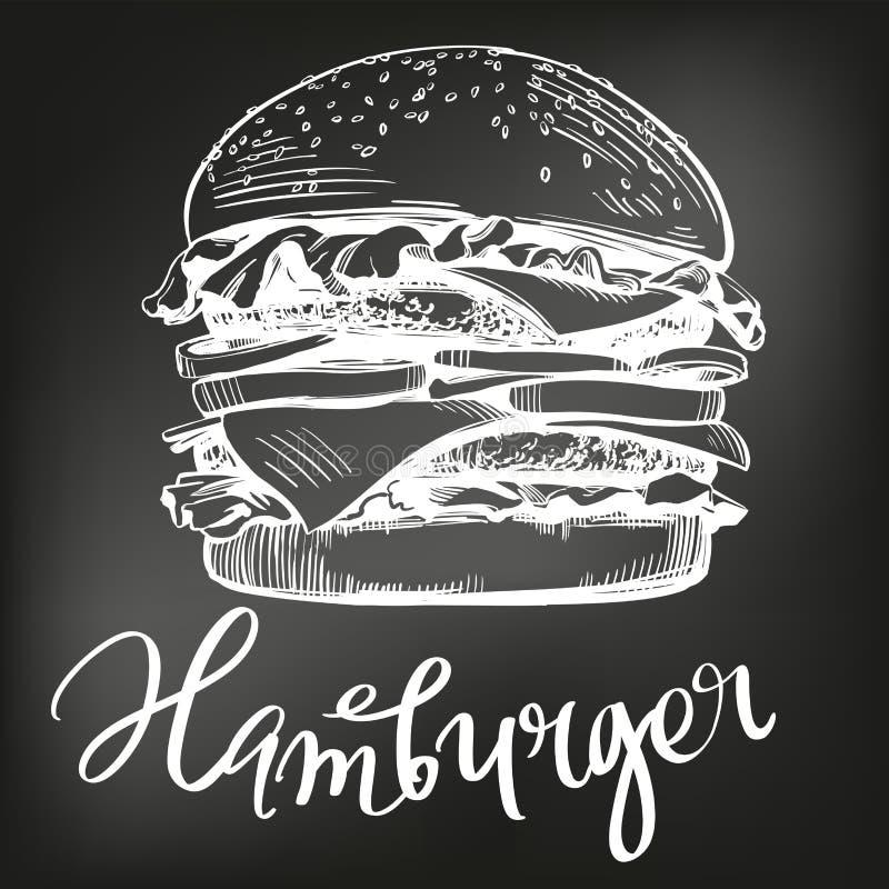 Den stora hamburgaren, dragen vektorillustration för hamburgare handen skissar kritameny retro stil stock illustrationer