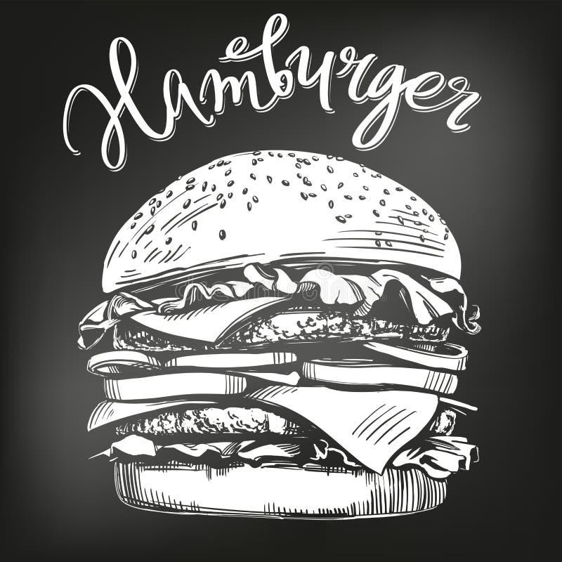 Den stora hamburgaren, dragen vektorillustration för hamburgare handen skissar kritameny retro stil vektor illustrationer