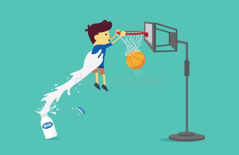 Den stora handen från mjölkar flaskan som lyfter en pojke för att skjuta en basket vektor illustrationer