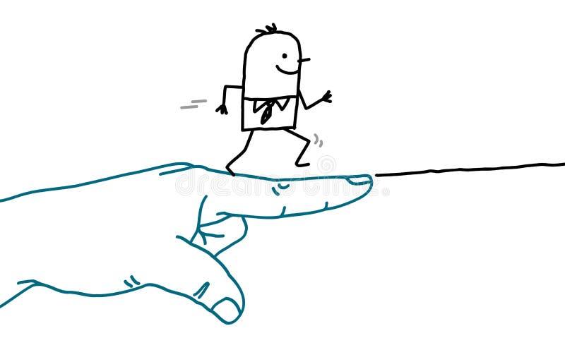 Den stora handen med tecknad filmteckenet - går tecknet och den rinnande mannen vektor illustrationer