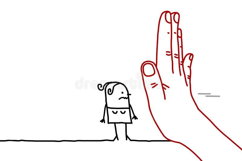Den stora handen med tecknad filmteckenet - stoppa tecknet som vänder mot en kvinna stock illustrationer