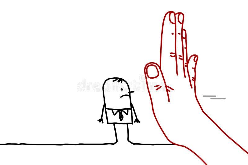Den stora handen med tecknad filmteckenet - stoppa tecknet som vänder mot en man vektor illustrationer
