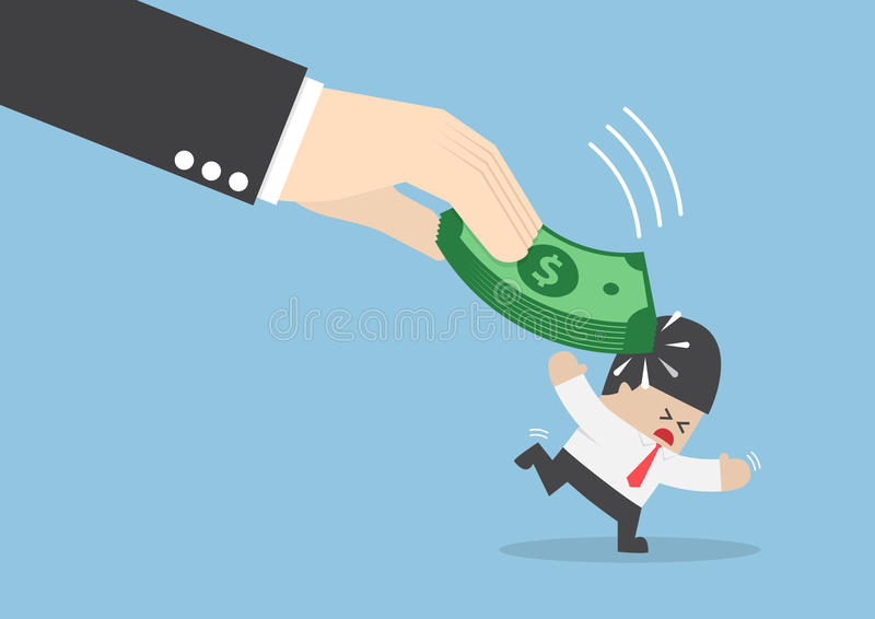 Den stora handen slogg affärsmanhuvudet vid dollarsedeln royaltyfri illustrationer