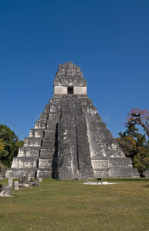 den stora I-jaguar peten det tikal tempelet royaltyfria bilder
