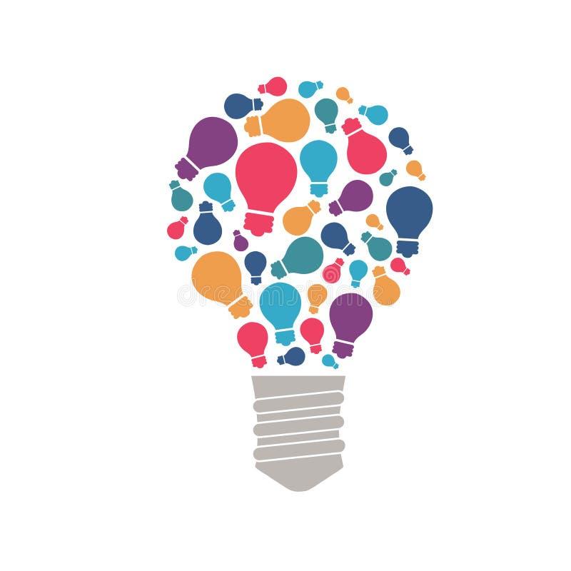 Den stora idén består av en kedja: små idéer, antyder och tippar stock illustrationer