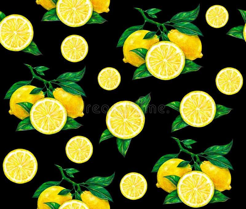Den stora illustrationen av den härliga gula citronen bär frukt på en svart bakgrund Teckning för vattenfärg av citronen seamless royaltyfri illustrationer