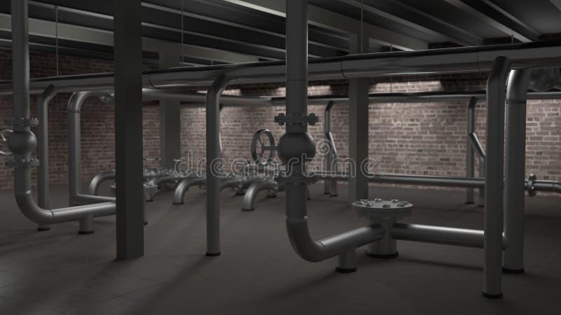 Den stora industriella kokkärlet, rör och ventiler hyr rum illustrationen 3d vektor illustrationer
