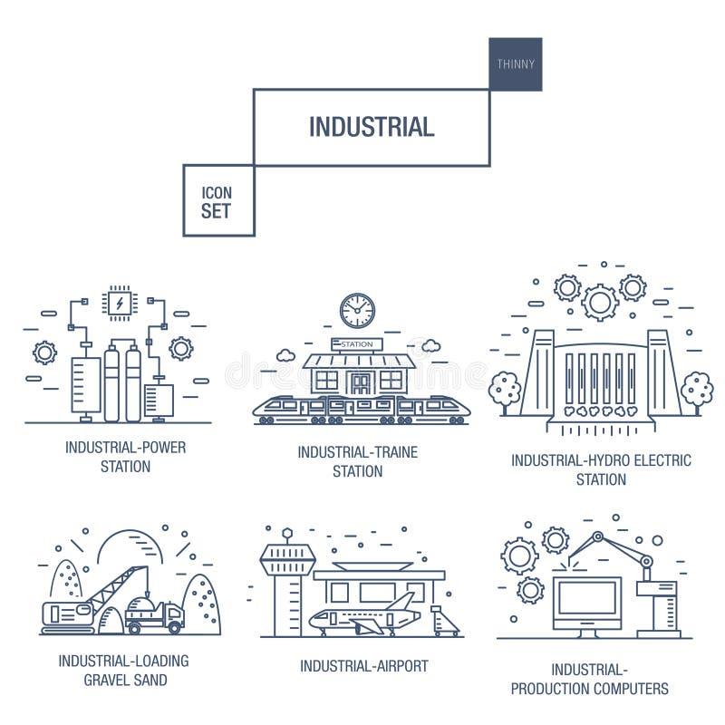 Den stora industriella symbolsuppsättningen med designbeståndsdelar gasar, oliv, rengöring, royaltyfri illustrationer