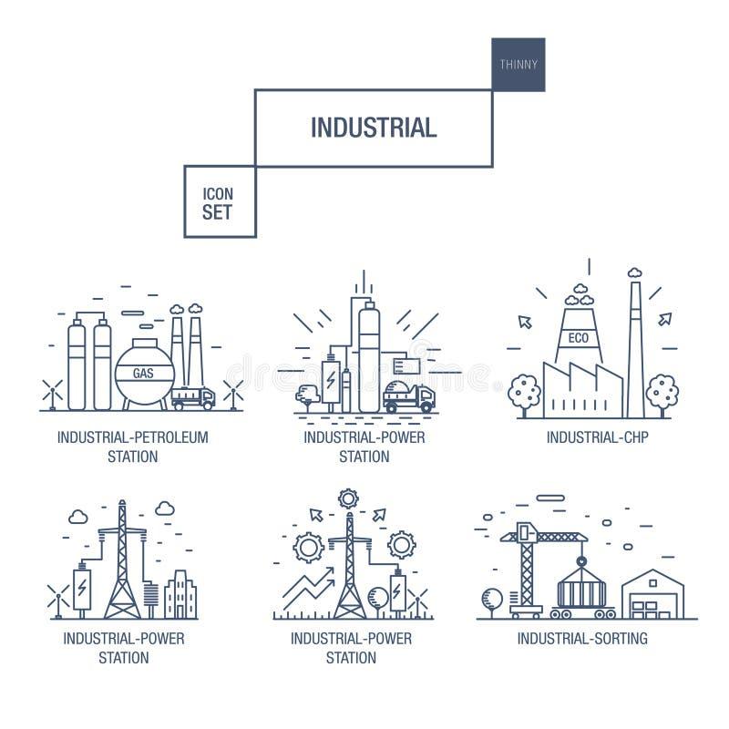 Den stora industriella symbolsuppsättningen med designbeståndsdelar gasar, oliv, rengöring, stock illustrationer