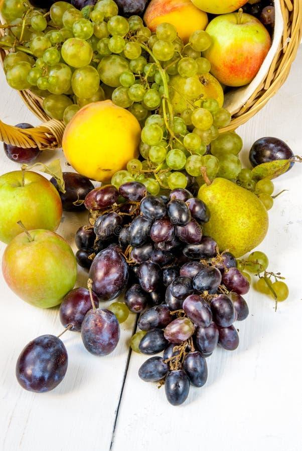 Den stora korgen med höstfrukter royaltyfri bild
