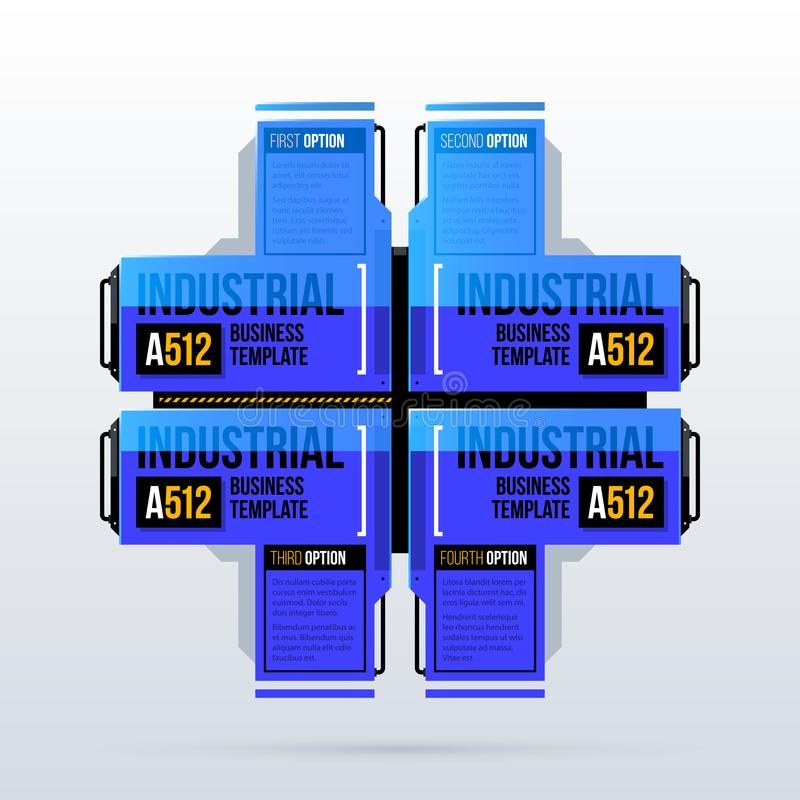 Den stora mallen med fyra alternativ och futuristiska industriella beståndsdelar i techno utformar stock illustrationer
