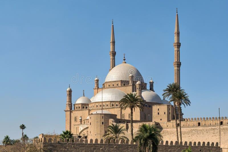 Den stora moskén av Muhammad Ali Pasha Alabaster Mosque som placeras i citadellen av Kairo, Egypten arkivbilder