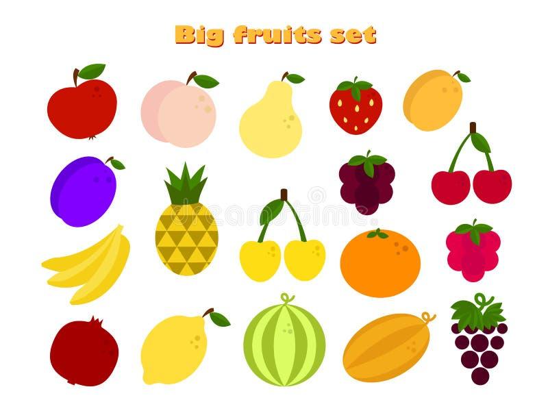 Den stora plana symbolen ställde in med olika frukter Det finns äpplet, jordgubben, körsbäret, apelsin vektor illustrationer