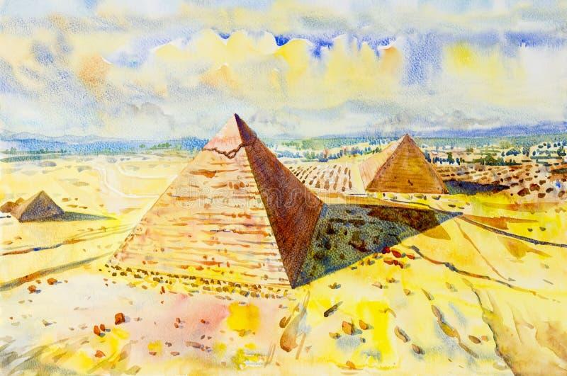 Den stora pyramiden med öknen i Giza, Egypten vektor illustrationer
