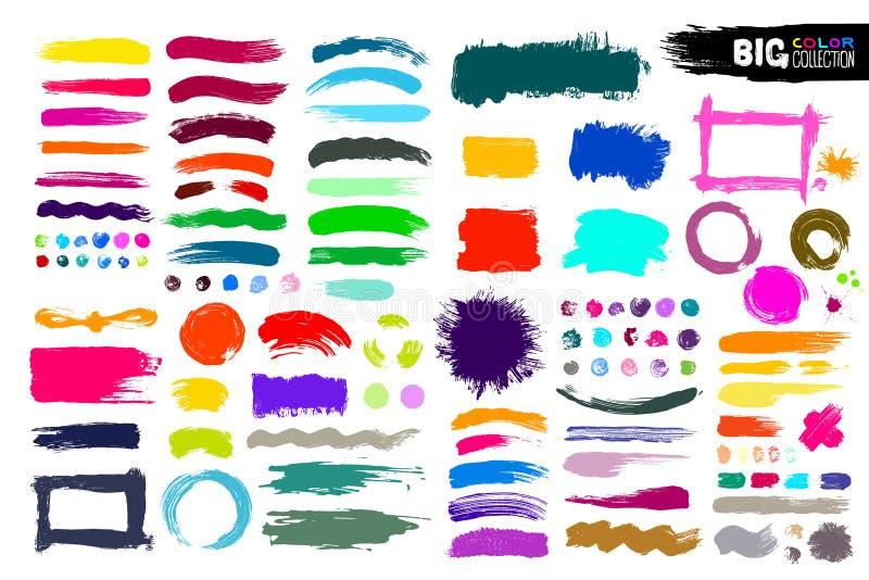 Den stora samlingen av färgmålarfärg, färgpulverborsteslaglängder, borstar, fodrar Smutsiga konstnärliga designbeståndsdelar, ask vektor illustrationer
