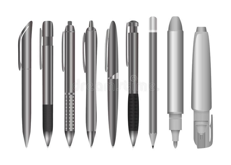 Den stora samlingen av teknik och kontoret skriver och ritar Svartvit brevpapperuppsättning royaltyfri illustrationer