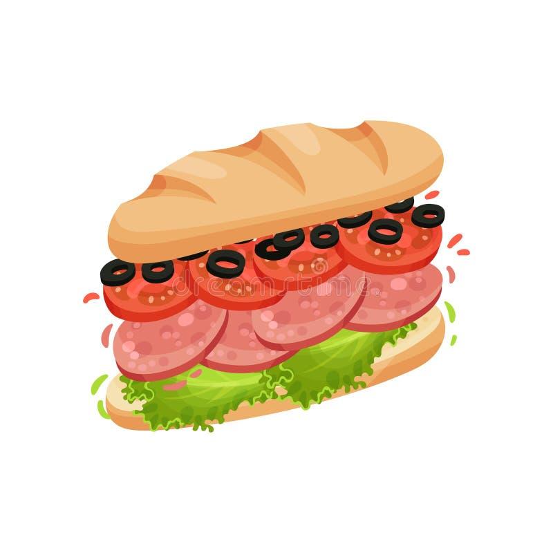 Den stora smörgåsen som göras från halvor av länge, släntrar med salami white f?r vektor f?r bakgrundsillustrationhaj royaltyfri illustrationer