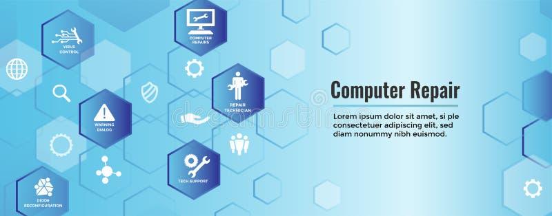 Den stora symbolen för underhåll för datasäkerhet med skiftnyckeln och kugghjulet bearbetar fo vektor illustrationer