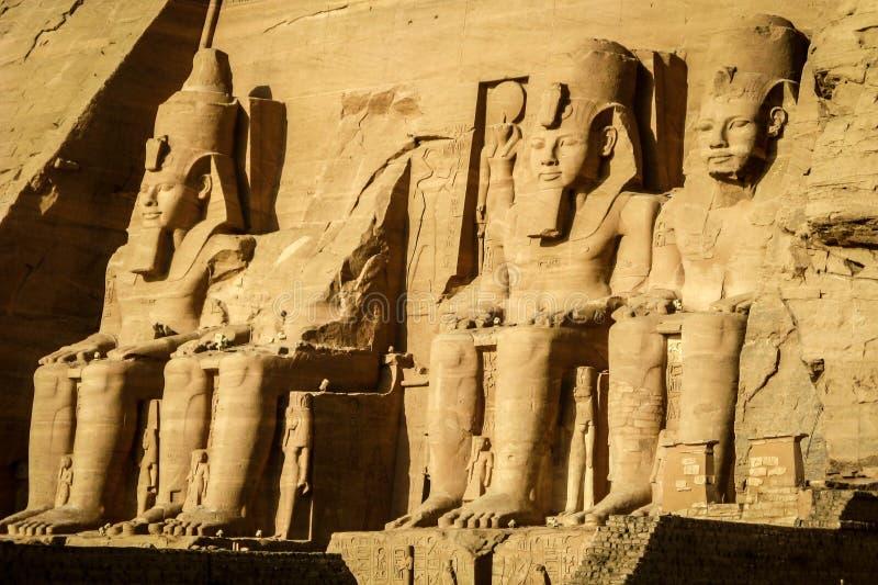 Den stora templet av Ramses II på Abu Simbel, Egypten royaltyfri bild