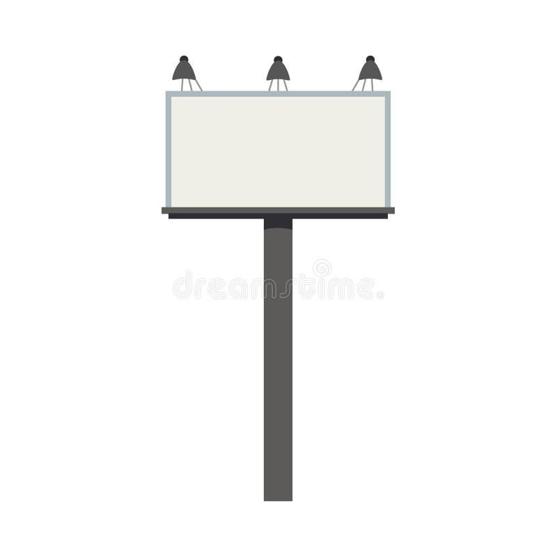 Den stora tomma stadsaffischtavlan med lampor och tömmer utrymme för text - den stads- kommersiella modellen för annonseringtecke royaltyfri illustrationer