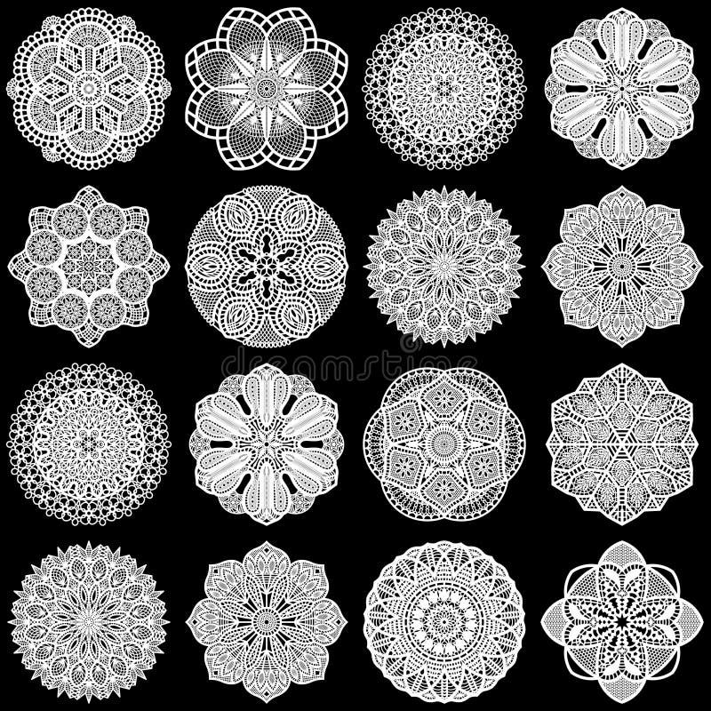 Den stora uppsättningen av designbeståndsdelar, snör åt den pappers- doilyen för rundan stock illustrationer