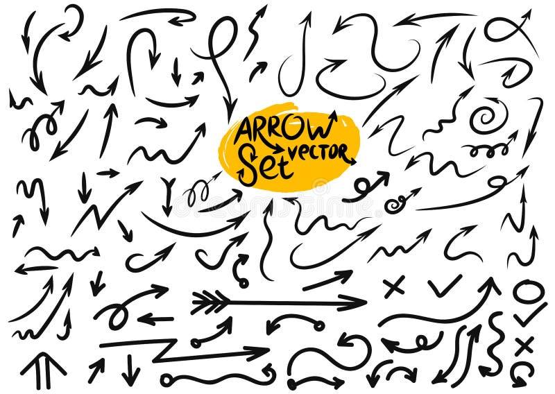 Den stora uppsättningen av grunge skissar den handgjorda vattenfärgklotterpilen också vektor för coreldrawillustration På vitbakg royaltyfri illustrationer