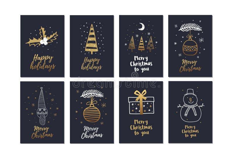 Den stora uppsättningen av idérika julkort med den guld- handen drog beståndsdelar semestrar vektor illustrationer
