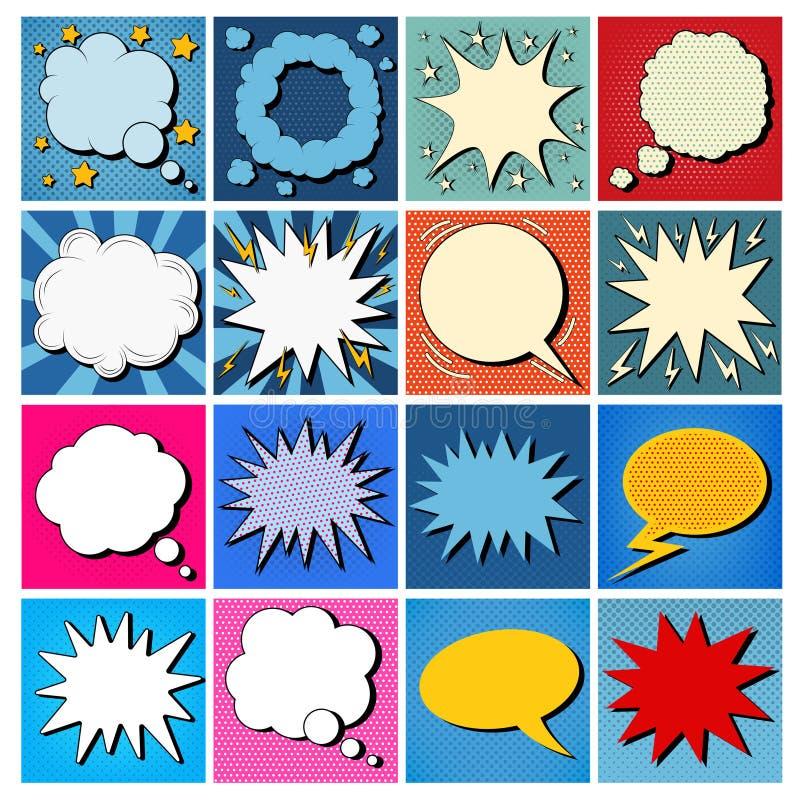 Den stora uppsättningen av komiker bubblar i popet Art Style royaltyfri illustrationer