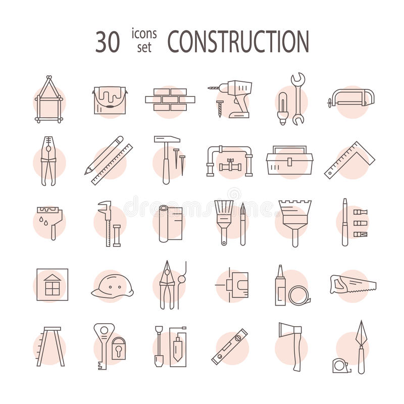 Den stora uppsättningen av symboler returnerar reparationer vektor illustrationer