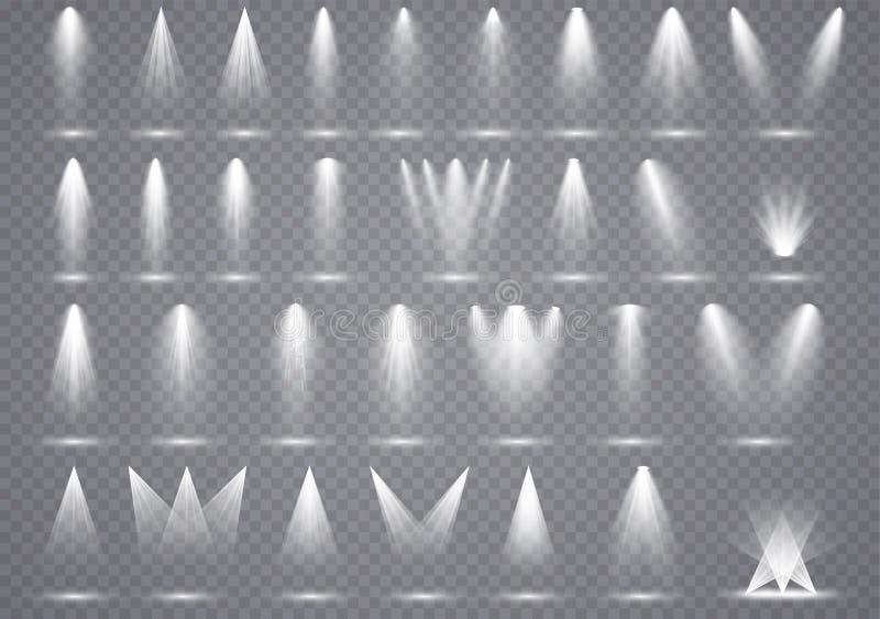 Den stora uppsättningen riktar uppmärksamheten på belysning, genomskinliga effekter med fläckbelysning vektor illustrationer