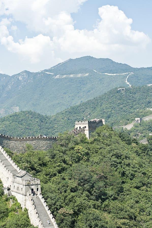 Den stora väggen av Kina Mutianyu stor vägg arkivfoto