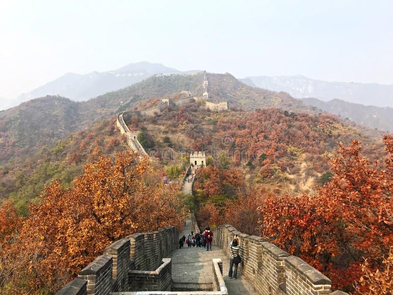 Den stora väggen av Kina på det Mutianyu avsnittet av bergen royaltyfria bilder