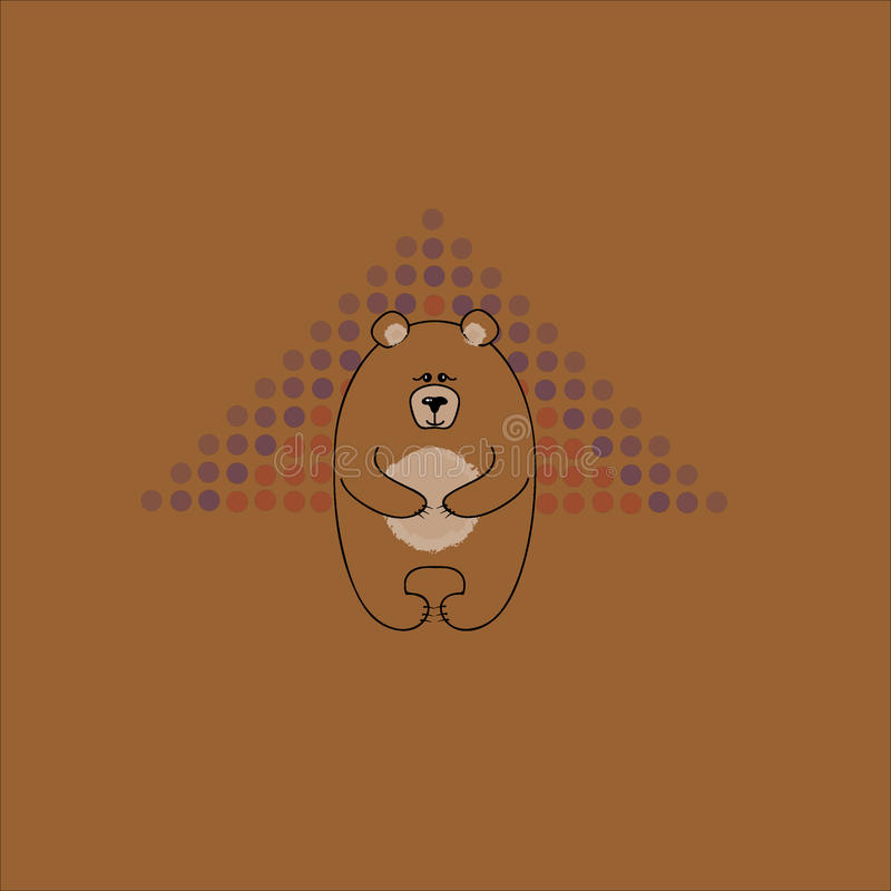 Den stora vänliga björnen Vykort med en björn på en brun bakgrund Dekorativ textur för vektor arkivfoto