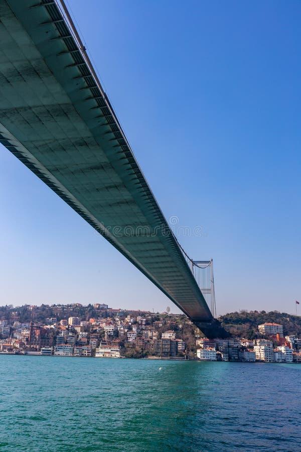Den storslagna bron av Sultan Mehmed Fatih till och med Bosphorusen, Turkiet royaltyfri fotografi