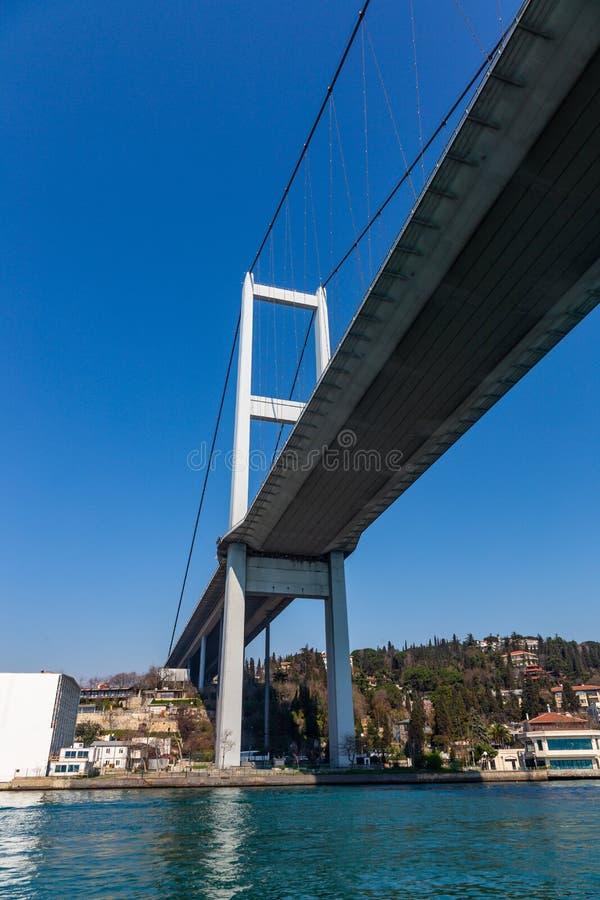 Den storslagna bron av Sultan Mehmed Fatih till och med Bosphorusen, Turkiet royaltyfri bild