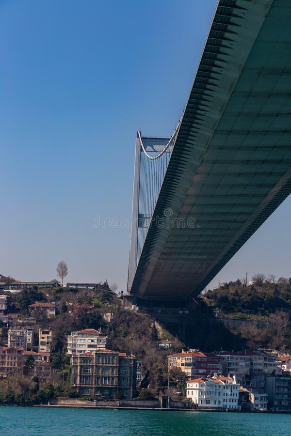 Den storslagna bron av Sultan Mehmed Fatih till och med Bosphorusen, Turkiet royaltyfria foton