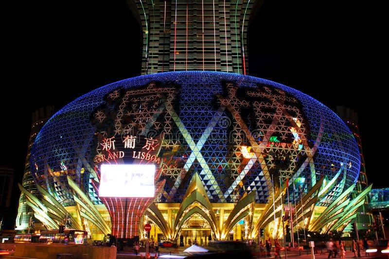 Den storslagna Lissabon kasinot LEDDE stort festtält, Macao, Kina fotografering för bildbyråer