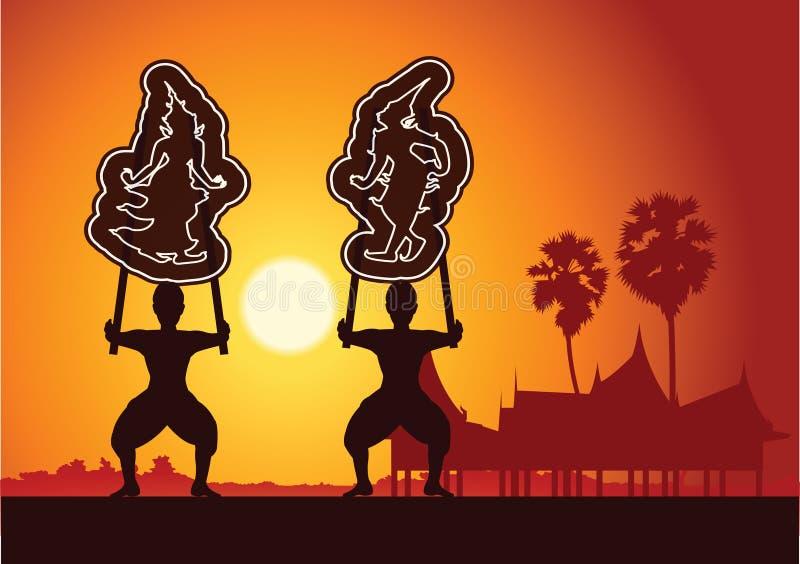 Den storslagna skuggaleken Thailändsk skuggadockakonst av Thailand Silhou vektor illustrationer