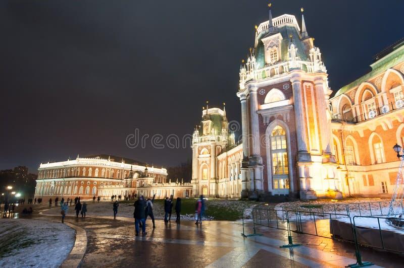 Den storslagna slotten i det Tsaritsyno museet och parkerar reserven under jul tid, turister går sighten fotografering för bildbyråer