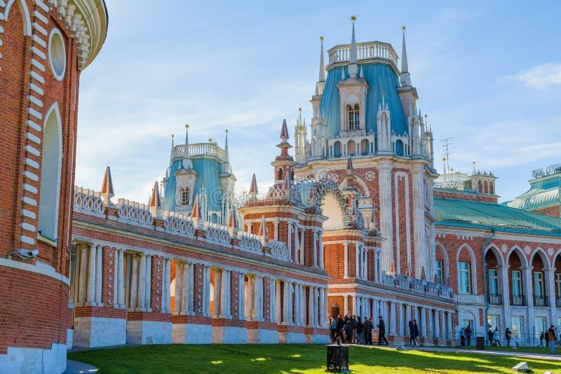 Den storslagna slotten i Tsaritsyno parkerar arkivfoton