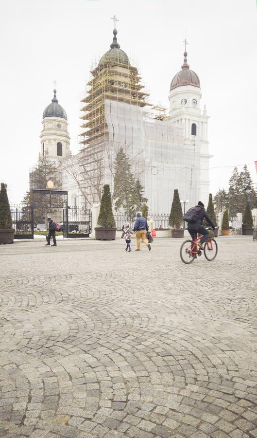 Den storstads- kyrkan av den Iasi staden, Rumänien är under renovering arkivbilder