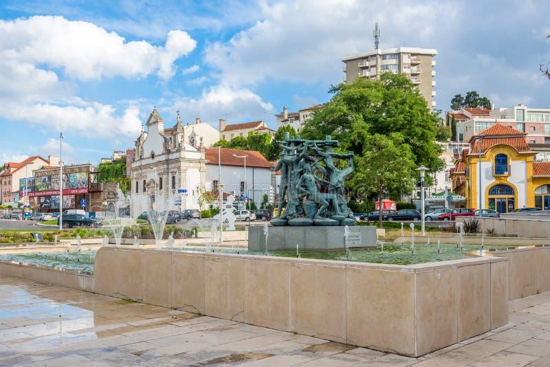 In den Straßen von Leiria in Portugal lizenzfreie stockbilder