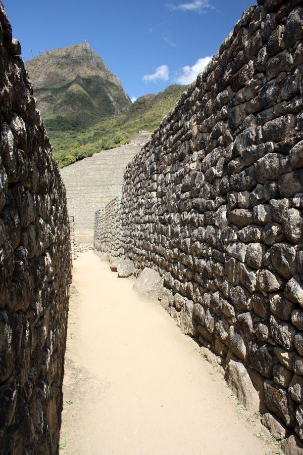 In den Straßen von Machu Picchu stockbilder