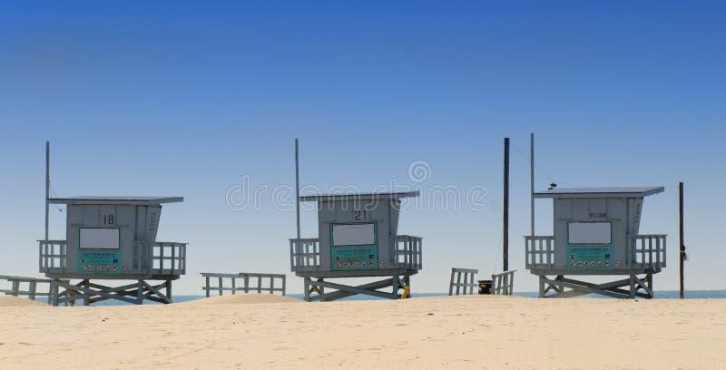 Den StrandKalifornien Livräddaren Sammanbor Med Tre Venice Arkivfoton