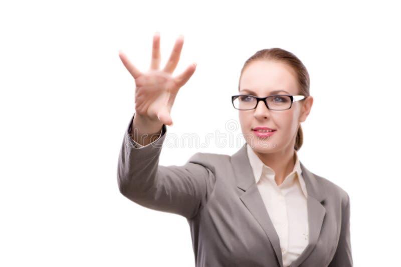 Den strikta allvarliga affärskvinnan som isoleras på vit royaltyfri foto