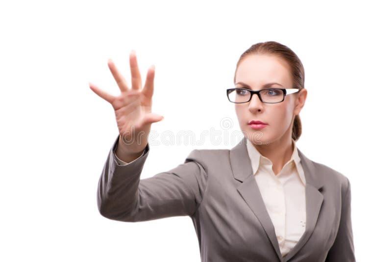 Den strikta allvarliga affärskvinnan som isoleras på vit arkivfoton
